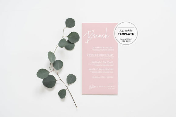 Blush Minimalist Brunch Menu Printable Template