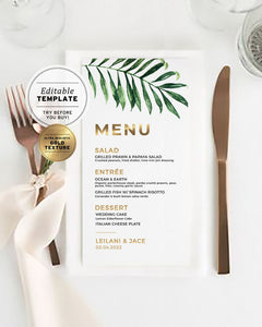 Kala Tropical Wedding Dinner Menu Printable Template