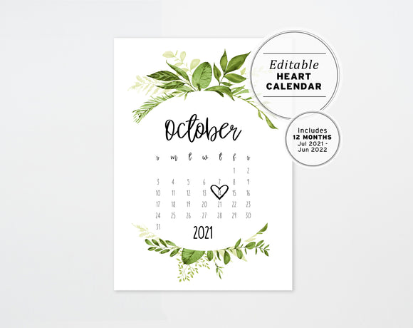Poppy Pregnancy Announcement Calendar with Watercolor Greenery Printable Editable Template