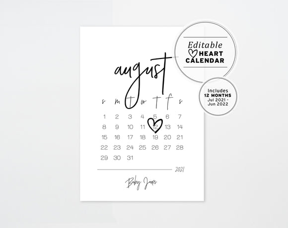 Talulah Pregnancy Announcement Due Date Calendar Editable Printable Template