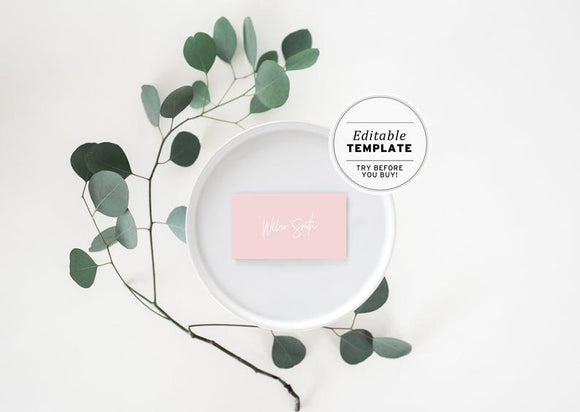 Blush Minimalist Name Place Cards Printable Editable Template