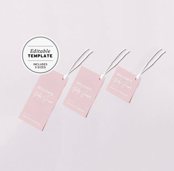 Blush Minimalist Favor Swing Tags Printable Template