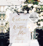 Pink Marble & Gold Wedding Welcome Sign Printable Template