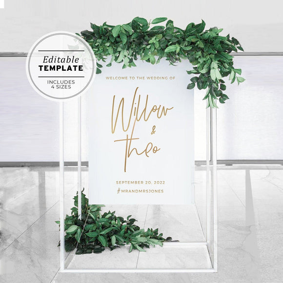 Juliette Gold Minimalist Printable Wedding Welcome Sign Printable Template