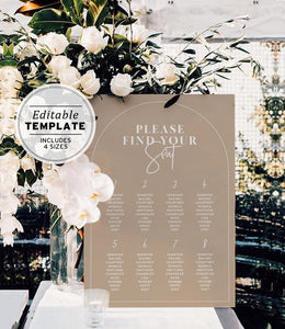 Wedding shower seating chart nue arch bridal