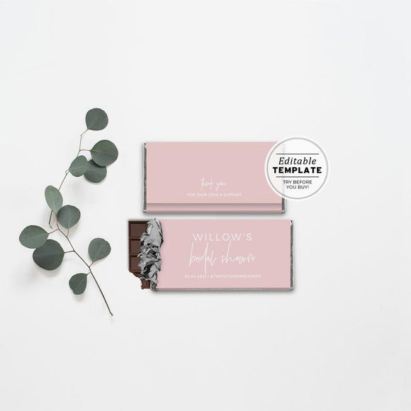 Blush Minimalist Bridal Shower Party Favor Chocolate Wrapper Printable Template