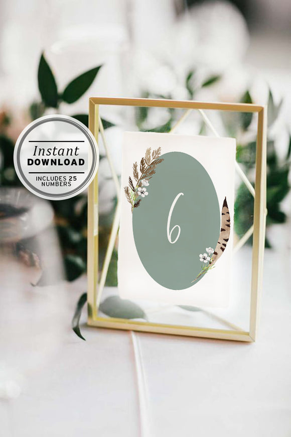 Boho Wedding Table Number Sign-Set of 25, Instant Download, Printable