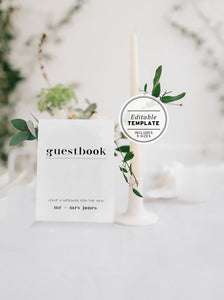Minimalist Wedding Guestbook Sign Printable Editable Template