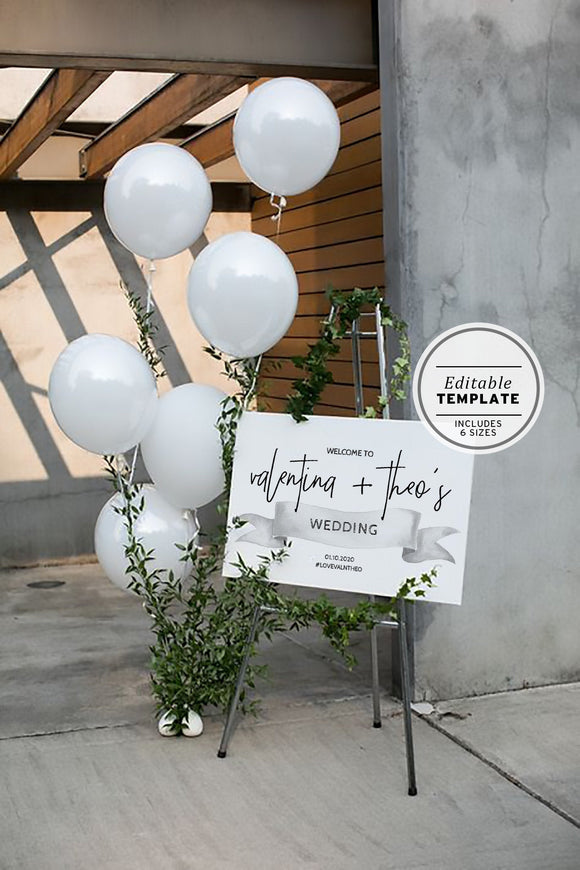 White Ribbon Welcome Sign Printable Editable Template