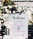 Classic Printable Pink Wedding Welcome Sign Editable Template
