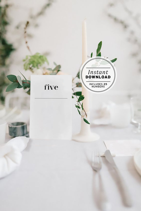 Minimalist Wedding Table Number Sign Printable Instant Download - Set of 25