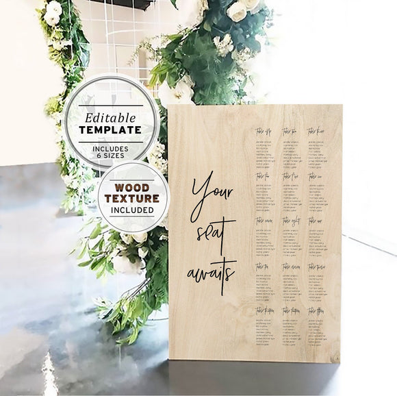 Wooden Textured Wedding Seating Plan Editable Template