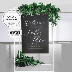 Chalkboard Wedding Welcome Sign Template