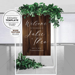 Timber Textured Wedding Welcome Sign Printable Template