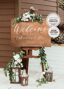 Wood Textured Wedding Welcome Sign Printable Editable Template
