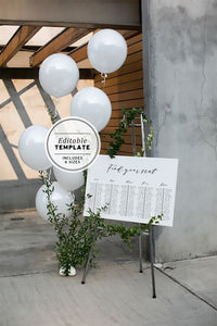 Long Table Wedding Seating Chart Editable Printable Template