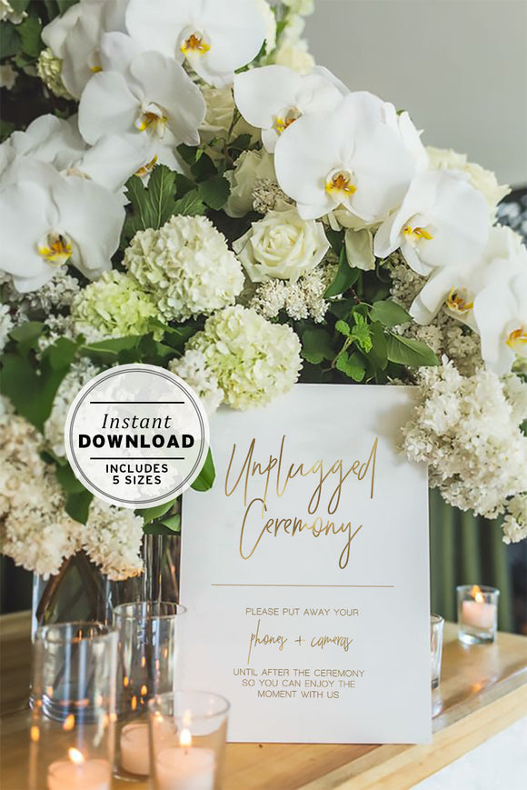 Juliette Minimalist Gold Unplugged Ceremony Sign Printable Instant Download