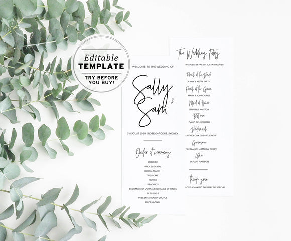 Juliette Minimalist Wedding Program Printable Editable Template