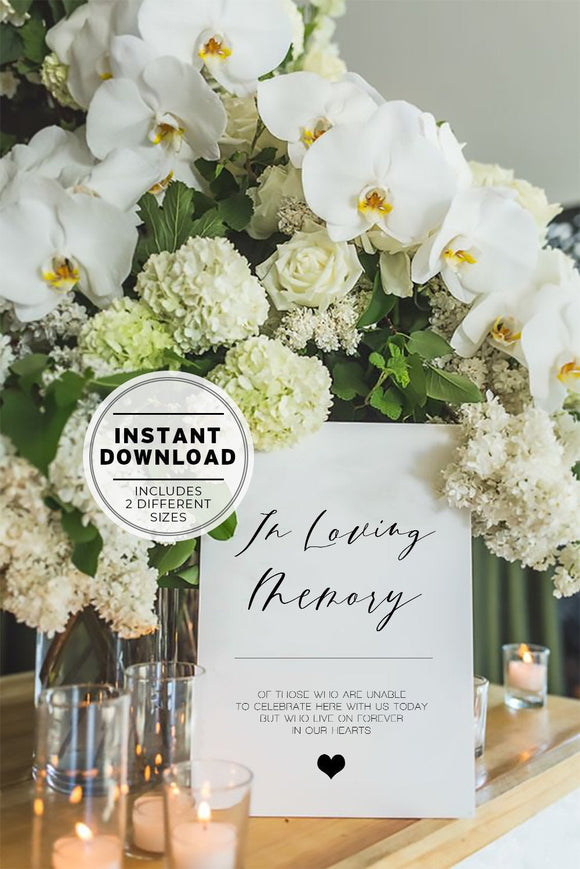 Wedding Memorial In Loving Memory Sign Printable Instant Download