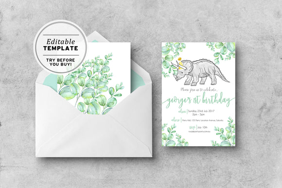 Dinosaur Birthday Invitation Printable Editable Template