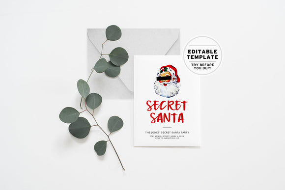 Christmas Secret Santa Party Invitation Printable Editable Template