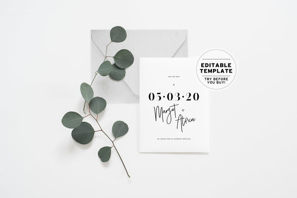 Minimalist Save Our Date Printable Card Editable Template