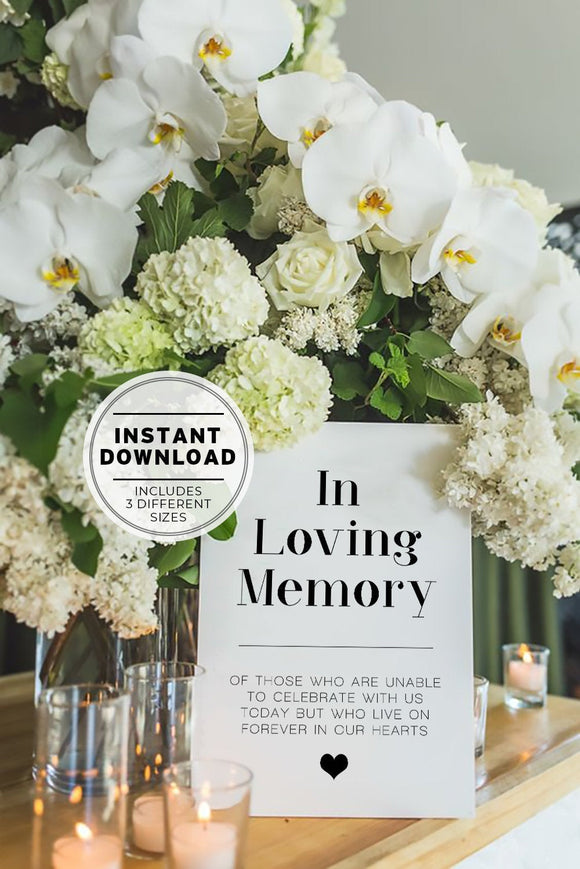 Wedding In Loving Memory Memorial Sign Printable Instant Download
