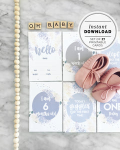 Watercolor Lilac Flowers Baby Milestone Cards Printable Instant Download - Set of 37