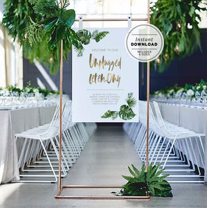 Leilani Tropical Leaf and Gold Unplugged Ceremony Sign | INSTANT DOWNLOAD #033