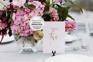 Juliette Gold Wedding Table Numbers Printable Instant Download - Set of 30