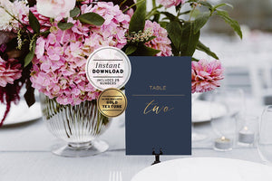 Navy & Gold Wedding Table Number Sign Printable Instant Download - Set of 25
