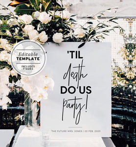 Til Death Do Us Party Welcome Sign Editable Template