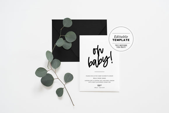 Oh Baby! Minimalist Baby Shower Invitation Printable Editable Template