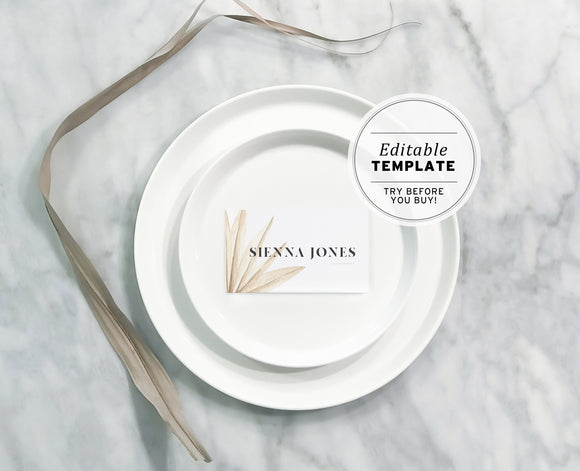 Nue Palm Minimalist Watercolor Place Cards Printable Editable Template
