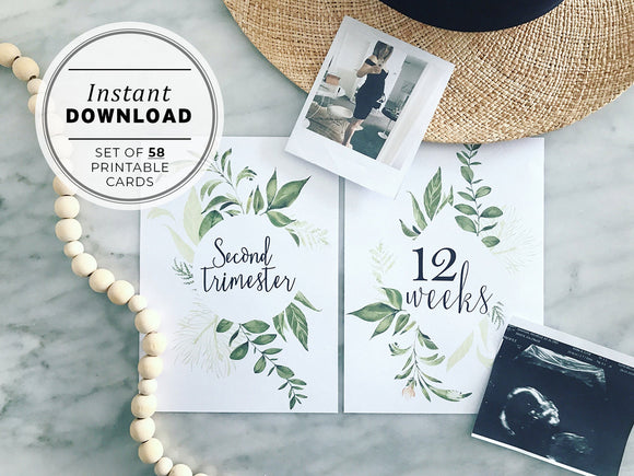 Watercolor Greenery Pregnancy Milestone Cards Printable Instant Download - Set of 58