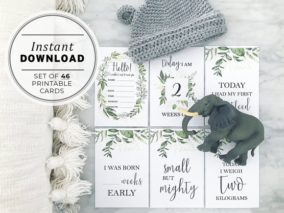 Watercolor Greenery Preemie Baby Milestone Cards Printable Instant Download - Set of 46