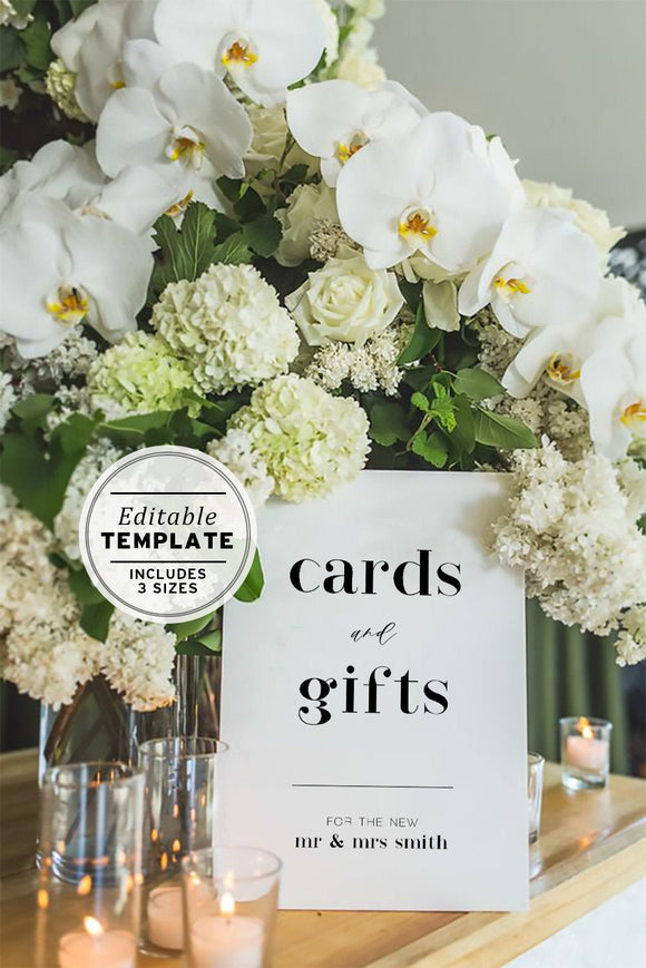 Wedding Cards and Gifts Sign Printable Editable Template