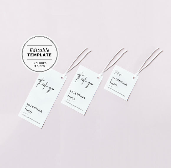 Juliette Minimalist Wedding Favor Swing Tags Editable Printable Template