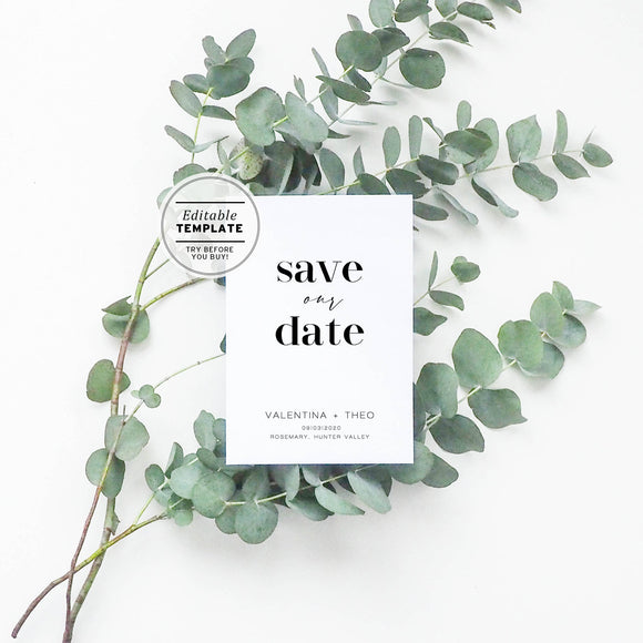 Mr White Minimalist Save Our Date Card Printable Editable Template