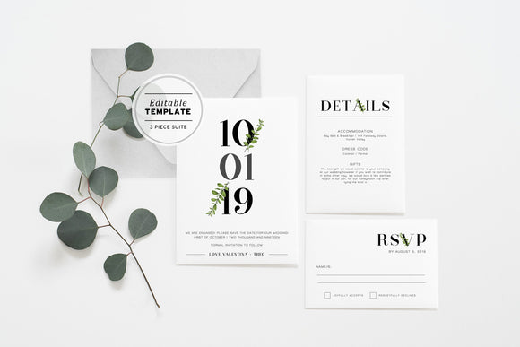 Minimalist Greenery Wedding Invitation Suite Printable Editable Template - Set of 3