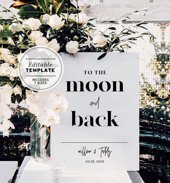 Minimalist 'To the Moon and Back' Wedding Welcome Sign Printable Editable Template