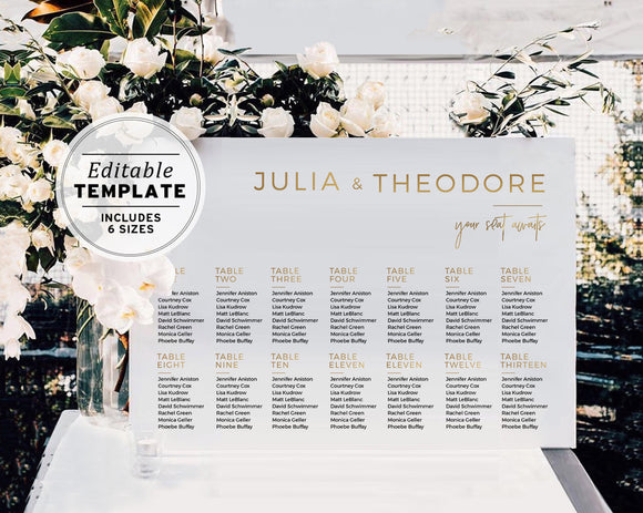 Kiki Minimalist Gold Wedding Seating Chart Template Printable