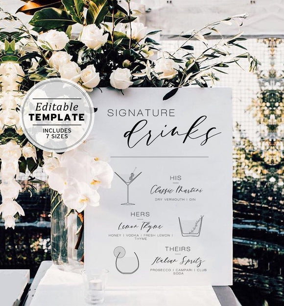 Juliette His & Hers Wedding Drink Menu Printable Editable Template