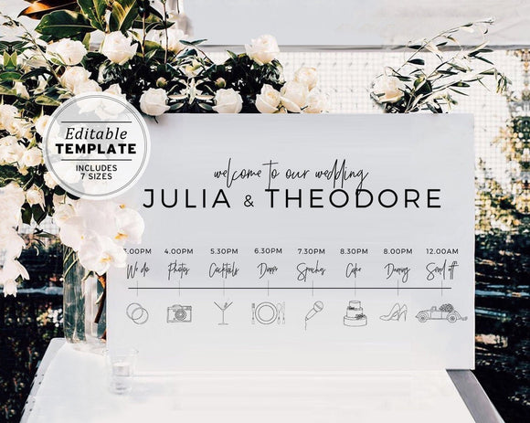 Minimalist Wedding Itinerary Timeline Sign Printable Editable Template