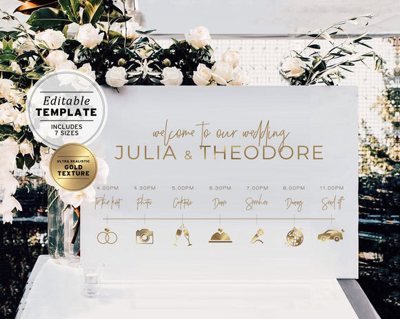 Kiki Minimalist Gold Wedding Day Itinerary Sign Printable Editable Template