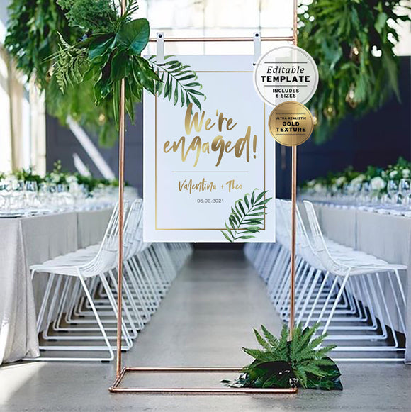 Tropical Watercolor Palm Leaf & Gold 'We're Engaged' Welcome Sign Editable Template