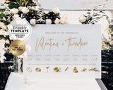 Juliette Minimalist Gold Wedding Timeline & Itinerary Sign Printable Editable Template