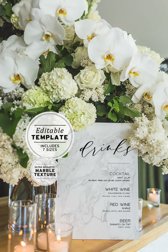 Marble Look Wedding Drink Menu Printable Editable Template