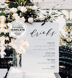 Classic Modern Minimalist Wedding Drink Menu Printable Bar Menu Template