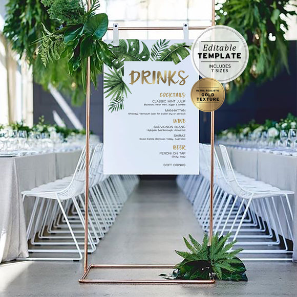 Leilani Tropical Leaves & Gold Wedding Bar Sign Printable Editable Template